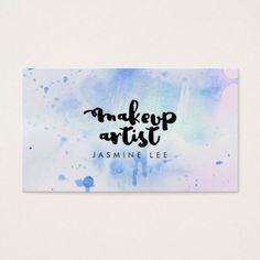 #makeupartist #businesscards - #chic modern makeup artist watercolor blue grunge business card