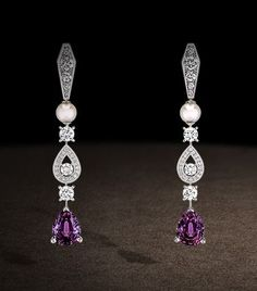 Chaumet earrings in platinum, diamonds and cultured pearls, set with pear-cut violet spinels