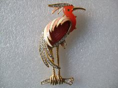 HATTIE CARNEGIE Unsigned Gold Tone Lucite Resin Rhinestone Enamel Exotic Heron Flamingo Waterfront Bird Brooch Pin Stunning 3D Design Piece