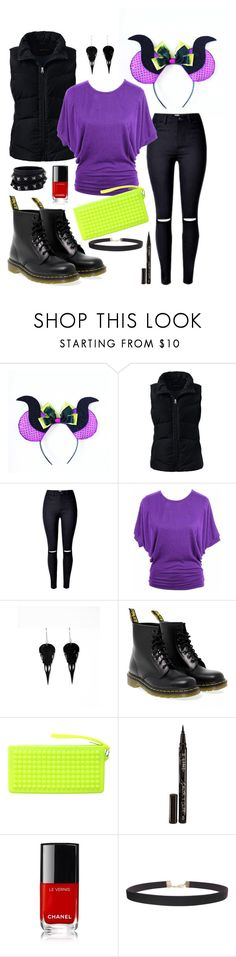 """Winter Maleficent Disneybound"" by toneverneverlandears on Polyvore featuring Lands' End, jon & anna, Dr. Martens, RumbaTime, Smith & Cult, Humble Chic and Valentino"