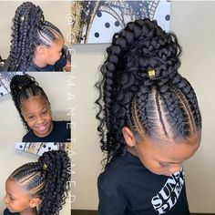 2019 Lovely Stunning Braids for Kids - little girls braids and beads - Baby African Hairstyles For Kids, Lil Girl Hairstyles, Braided Ponytail Hairstyles, Braided Hairstyles For Black Women, African Braids Hairstyles, Braids For Black Hair, Hairstyles With Braiding Hair, Feed In Braids Ponytail, Cornrows Updo