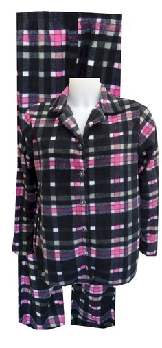 Black And Pink Plaid Fleece Pajama Set be269d42e