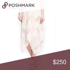 """JOIE 'JAMILLA' GRAY & BLUSH SILK SKIRT JOIE 'JAMILLA' HANDKERCHIEF HEM SILK SKIRT. Strips of soft, neutral color drift like confetti down a pleated handkerchief-hem lined skirt cut from ethereal silk.  Color: Porcelain Glass.  Material: 100% Silk. Size Small Approx. Measurements: 24"""" Front length; 37"""" Back length. Condition: Excellent   Joie Skirts Midi"""