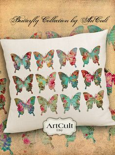 Two Printable Digital Sheets BUTTERFLY COLLECTION No2 by ArtCult