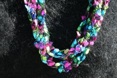 Ladder Ribbon Crochet Necklace multicolor by MamaKikis on Etsy