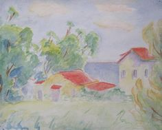 "Pablo Felipe Villegas Mañé ""Casa de Peirano, Playa Verde"" Acuarela sobre papel  25 x 32 cm. Año 1950  http://www.portondesanpedro.com/ver-producto.php?id=12265"