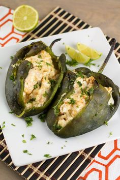 Cream Cheese Stuffed Poblano Peppers great and fast. made salsa of avocado, tomato, cilantro, and lime juice Chili Recipes, Vegetable Recipes, Mexican Food Recipes, Vegetarian Recipes, Cooking Recipes, Healthy Recipes, Pepper Recipes, Poblano Recipes, Keto Recipes