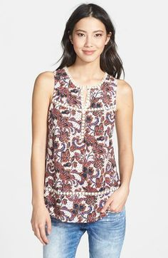 Lucky Brand Floral Print Sleeveless Cotton & Modal Tunic available at #Nordstrom