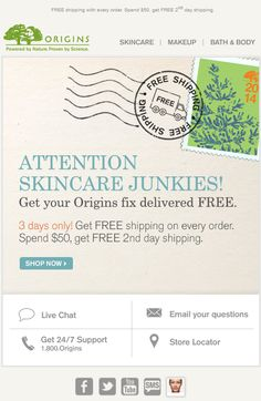 Origins - 3 day event with free shipping on all orders, free 2nd day shipping on $50+ orders; cute post mark design