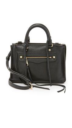 Micro Regan Satchel. Black leather satchel