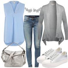 Frühlings-Outfits: Happy Monday  Das alltägliche Frühlings Outfit, bestehend aus einem blauen Blusentop, einer Grauen Strickjacke, einer Slim Fit Jeans, farblich abgestimmten Accessoires und Metallic Sneaker, wirkt cool & lässig.
