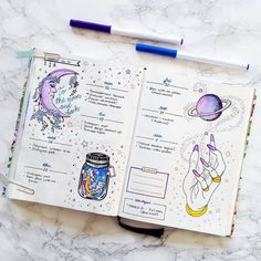 Look at this amazing galaxy themed spread by @mathusbujo ✨ #notebooktherapy