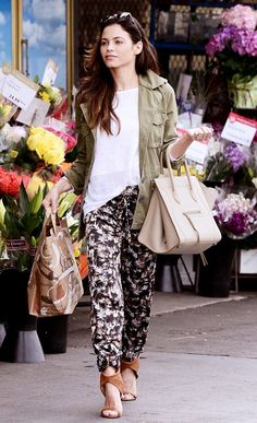 Jenna Dewan-Tatum does casual right in printed relaxed fit pants, a green military jacket and brown heels