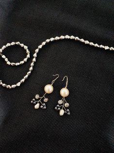 Pearl blue handmade earing