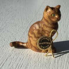 Hantel pewter miniature Sitting Ginger Tabby cat   eBay