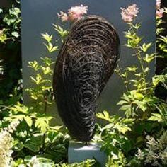 #Bronze #sculpture by #sculptor Rupert Till titled: 'Moule (Wire Mesh/Netting Shellfish/Bivalve garden/Yard sculpture/statue)'. #RupertTill