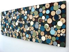 Modern Rustic Painted Wood Slice Wall Sculpture