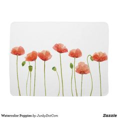 Watercolor Poppies Swaddle Blanket Sept 3 2017 - #zazzle #junkydotcom #gifts