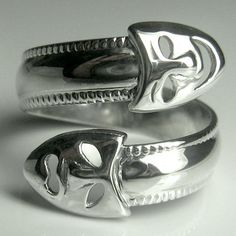 Drama Masks Sterling Silver Adjustable Spoon Ring by thesilverart, $55.00