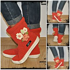 Sandals – Crochet boots 65% cotton 35% acri UKI-BOHO-PINK – a unique product by uki-boots on DaWanda