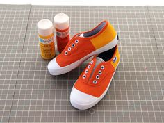 Make Your Own Candy Corn Kicks >> http://blog.diynetwork.com/maderemade/2013/10/04/make-mother-daughter-not-so-spooky-kicks-for-halloween?soc=pinterest