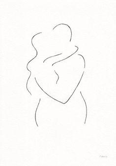 Minimalist kiss drawing. Original line art illustration. Black