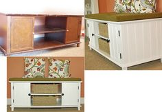 Cute ideas for repurposing old entertainment centers and cabinets.