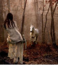She waits in silence for her friend the unicorn to arrive...