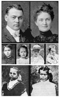 VILLISCA AXE MURDER HOUSE. The eight victims, all bludgeoned to death, were Josiah B. Moore (age 43), his wife Sara Moore (age 39), their children Herman (age 11), Katherine (age 10), Boyd (age 7), and Paul (age 5), and two guests in the home, Lena Stillinger (age 11) and Ina Stillinger (age 8). The murder weapon was located by police; it was a large axe owned by Josiah Moore.