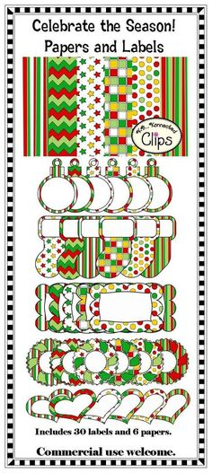 Celebrate The Season - Papers and Labels Christmas Clipart, Christmas Printables, Little Christmas, Christmas Crafts, Classroom Clipart, Printable Pictures, Scrapbook Paper, Digital Scrapbooking, Clip Art