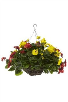 Artificial Flowers -  Red And Yellow Pansy Hanging Basket from the Next UK online shop