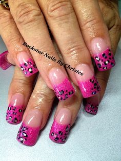 Rockstar neon pink glitter acrylic nails by Christee