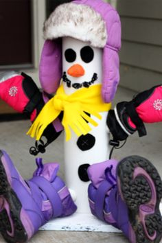 Snowman Dryer - this really works!  it's made of PVC and you sit it on top of a floor vent in your house - the warm air runs up the vent and through the snowman to dry the boots and gloves - so smart!