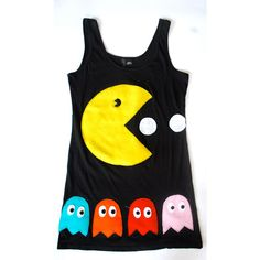 Womens Pacman and Ghosts Tank Top Tunic ($70) ❤ liked on Polyvore featuring tops, shirts, tank tops, tanks and stitch shirt