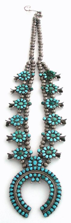 Squash Blossom Necklace   Vintage Zuni.  Sterling silver and turquoise.