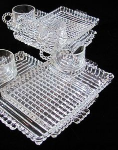 ca. 1930's  Rare  Depression Glass  Sandwich Plates with a Coffee or Tea Cup  4 SETS  $52