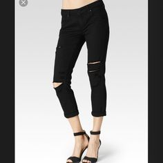 "Paige Jeans. Size 26. NWT. Paige Jimmy Jimmy Crop Black Arlo Destructed Boyfriend Jeans. Size 26. Inseem- 25"" NWT.  (55528)   PRICE FIRM HERE CHEAPER ON OTHER SITES NO TRADESNO HOLDSNO MODELING Paige Jeans Jeans Boyfriend"