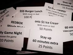 Point Reward System for chores - been using this for 2 years... it works WONDERS!