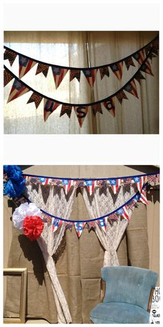 {DIY} Fourth Of July Fabric Banner Fabric Banners, Fourth Of July, Valance Curtains, Crafty, Holiday, Diy, Home Decor, Vacations, Decoration Home