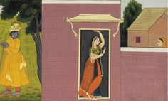 An illustration from a Sundar Shringar Series: Radha standing in a doorway as Krishna awaits Radha is shown exiting through a doorway en route to her tryst with the waiting Krishna while her attendant watches from the other side of a wall. circa 1780, India, Kangra or Guler