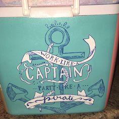 captain pirate anchor nautical cooler