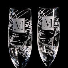 2 música boda Champagne tostado flautas regalo por bradgoodell