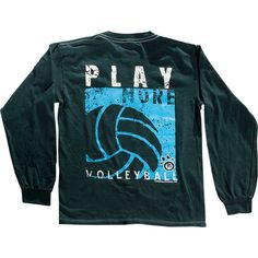 Play More Volleyball Long Sleeve T Shirt   Navy Blue
