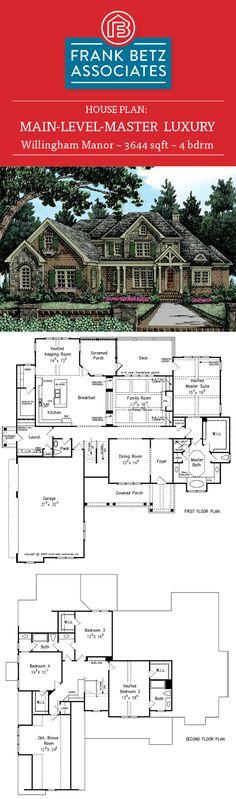 Willingham Manor: 3644 sqft, 4 bdrm Luxury house plan design by Frank Betz Associates Inc. Home Design Plans, Plan Design, Home Interior Design, Frank Betz, Luxury House Plans, House Floor Plans, Shabby Chic Decor, Rocks, Sweet Home