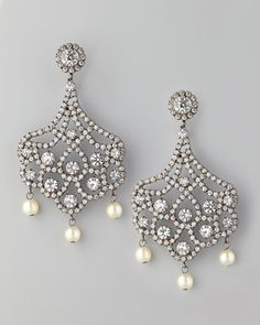 ShopStyle: Kenneth Jay LanePave Crystal & Pearl Clip Earrings