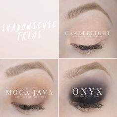 ShadowSense Trios: Candlelight,   Moca Java, Onyx  #senegence #lipsense #nosmearlipstick #smudgeproof #lifeproof #lipstick #longlastinglipstick #beautyblogger #makeup #beauty #makeupblogger #beautyblogger #loveyourlipswithsiara #shadowsense #waterproof #waxfree #leadfree #eyelook #vegan #veganmakeup #glutenfree #animalcrueltyfree #koshermakeup #eyelook #fdaapproved #blushsense #skincare #antiaging #shadowsense #makesense #seneplex #waterresistant