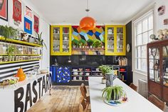 Shoreditch House, Colorful Apartment, Open Fireplace, Teak Table, Pine Floors, Storage Sets, Timber Flooring, Kitchen Colors, Mid Century Design