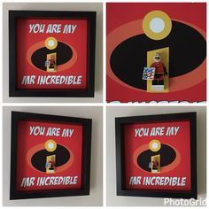 Mr Incredible Minifigure Frame Mum Gift Geek Box by FigureThatBox Valentines Frames, Valentine Box, Lego Frame, Fathers Day Frames, Lego Wedding, 4 Year Anniversary, Gifts For Mum, Love Is All, Craft Gifts