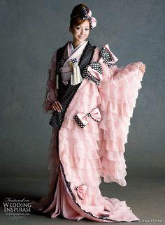 non-traditional pink, black & white Japanese Wedding Kimono