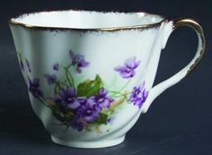 Pattern 2106 by Salisbury Bone China Co. - Swirled Purple Violets, Sponged Gold Trim. No Pattern name.  Operated in Longton, Stoke-on-Trent from 1927 to 1949